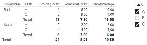 semi average with matrix
