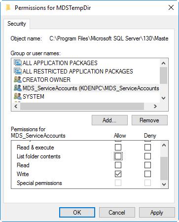 set permissions on temp folder