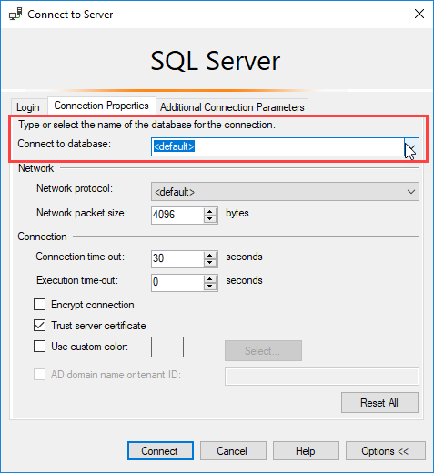 select database in connection SSMS