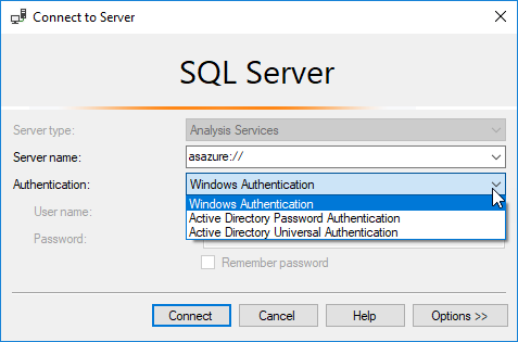 Azure SSAS with password in SSMS
