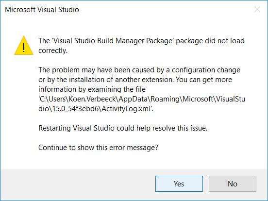 Installing SSDT for Visual Studio 2017 | Under the kover of