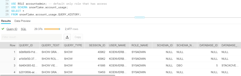 Cool Stuff in Snowflake – Part 6: Query History | Under the kover of